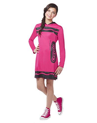 Spirit Halloween Costumes For Tweens (Spirit Halloween Tween Sparkle-Print Hooded Crayon Costume - Crayola,Razzmatazz Pink,M)