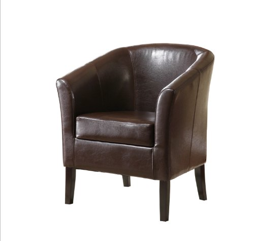 Linon Home Decor Simon Club Chair, Brown - Barrel Club Chair
