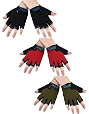 3 Pairs Kids Half Finger Gloves Sport Gloves Non-Slip Gel Gloves for Children 6-10 Years Cycling Biking (Color Set 3)