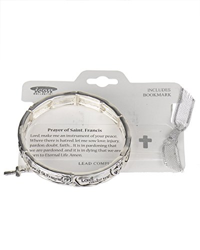 Prayer of St. Francis Cross Charm Silver-tone Stretch Bracelet Lord make me an instrument of your