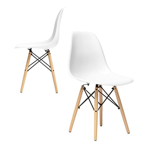 Set of 2 - Chelsea Eames DSW (Wood Legs) Molded Plastic for sale  Delivered anywhere in USA