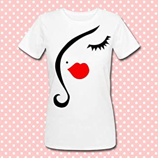 T-shirt donna con stampa silhouette viso femminile Funny Face, ciglia e rossetto