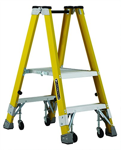 Louisville FMP2002-4C Twin Front Platform Ladder with 2-Feet Standing Height and Casters, 24 X (Louisville Rolling Ladders)