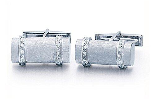 Shaped Diamond Cufflinks (14K White Gold Log Shaped Cufflinks With .20 ct. Diamonds-86196)
