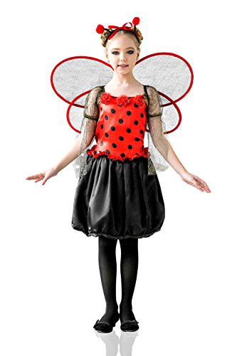 [Kids Girls Ladybug Princess Halloween Costume Love Bug Fairy Dress Up & Role Play (6-8 years, black,] (Ladybug Costume Makeup)