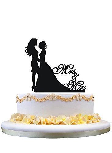 Lesbian wedding cake topper, same sex cake topper, mrs and mrs wedding cake topper by zhongfei