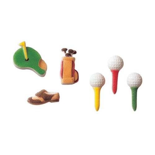 Lucks Dec-Ons Decorations Molded Sugar/Cup-Cake Topper, Golf Assortment, 1.25 Inch, 160 Count