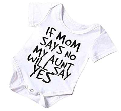 SWNONE Funny Newborn Infant Baby Girls Boys Short Sleeve Bodysuit Romper White Outfits Clothes