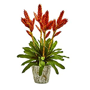 Silk Flowers -Tropical Bromeliad Arrangement with Weathered Planter Artificial Flowers 100