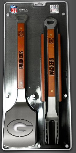Green Bay Packers 3-Piece Set Sportula Set Grilling Tailgating Tools NFL Spatula - Packers Piece Bay 3 Green