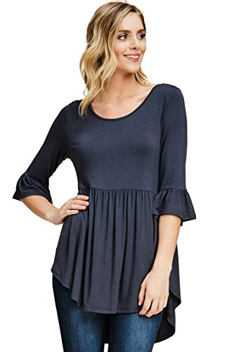 Annabelle Women's Bum Cover Curve Hem Empire Waist Solid Bell Sleeve Top Slate Large T1407