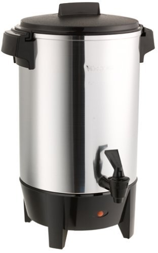 West Bend 30 Cup Automatic Polished Aluminum Urn Features Automatic Temperature Control with Twist-Lock Safety Cover and 2-Way Dripless Faucet; Includes Heat Resistant Handles and Base