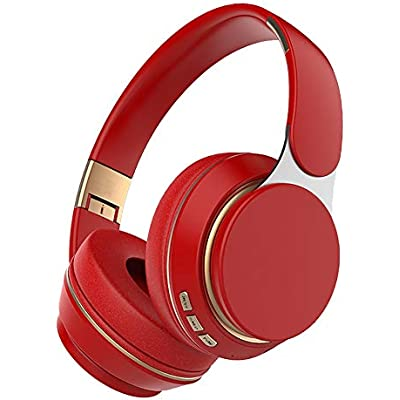 Mackur Wireless Headphones Bluetooth 5 0 Headset Foldable Stereo Adjustable Earphones With Mic for phone  Color Red