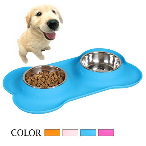 Goetland Stainless Steel Double Dog Water and Food Bowls with Non-Skid No Spill Food Grade Bone Shape Silicone Stand Light Blue 1 Cup ()