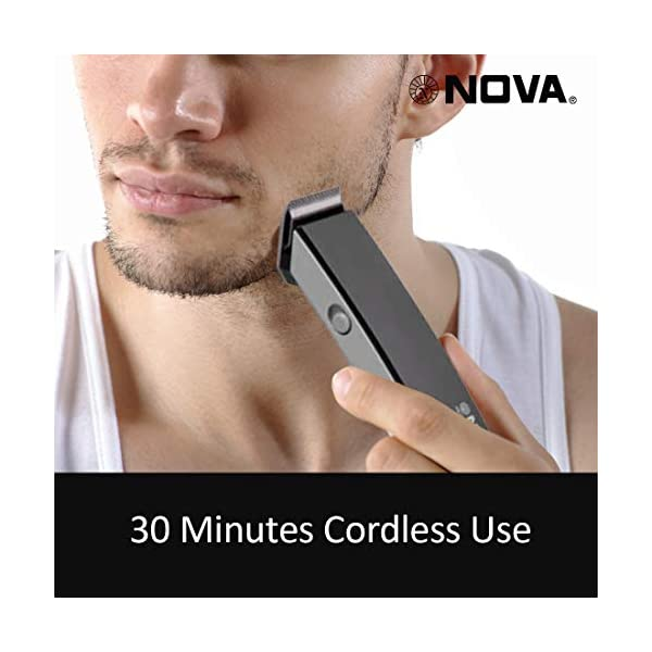Nova NHT-1045 Rechargeable Cordless: 30 Minutes Runtime Beard Trimmer for Men (Black) 2021 July Removable Rechargeable Battery and the product can be charged only with Charging Cable, Washable attachments with charging cable High grade stainless steel blades rechargeable cordless trimmer, Upto 30 minutes of cordless use, after 8 hours of charge insert the battery in the slot and charge it accordingly .This product is not suitable for direct plug and use