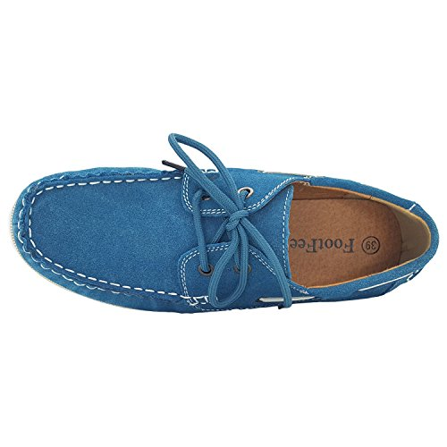 Womens Classic Womens Slip Shoes Stealblue Suede On On Slip Suede Classic Moccasin Moccasin FootFeel FootFeel Shoes IqwAn48