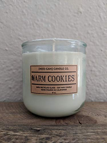 WARM COOKIES, Hand Poured Scented 10oz Soy Candle in 100% Recycled Glass Tumblers
