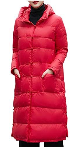 EKU Women's Outwear Winter Warm Coat Long Thick Hooded Down Jackets Red
