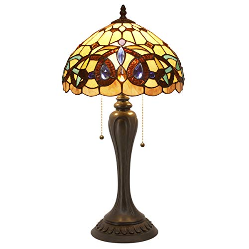 (Tiffany Style Table Lamps Wide 12 Tall 22 Inch Serenity Victorian Stained Glass Lamp Shade 2 Bulb Desk Antique Night Light Resin Base for Living Room Bedroom Bedside End S021 WERFACTORY)