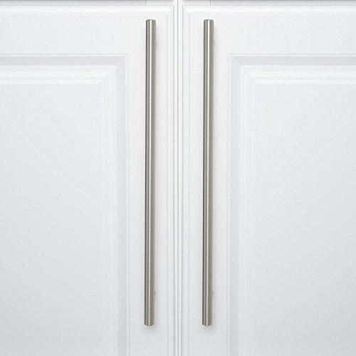 AmazonBasics Euro Bar Cabinet Handle (1/2'' Diameter), 15'' Length (12.63'' Hole Center), Satin Nickel, 10-Pack by AmazonBasics (Image #2)