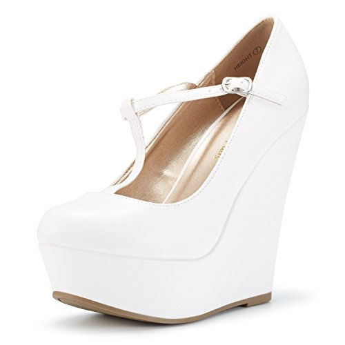 (DREAM PAIRS Wedge-Height White Pu Mary Jane Platform Wedges Shoes for Women Size 8.5 B(M) US)