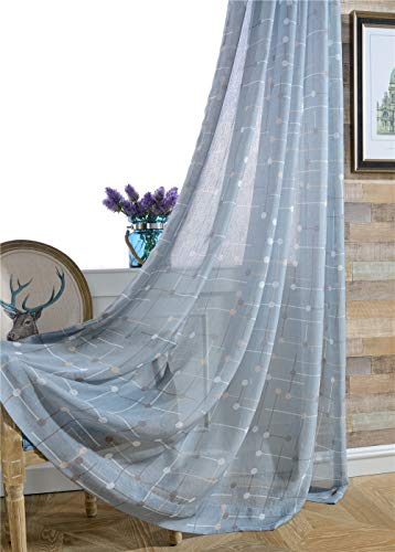 TIYANA Blue Sheer Curtain Panel for Living Room 84 inch Long Rod Pocket Top Print Sheer Gauze Tulle Drapery Simple Design Window Treatment for Study Room, 1 Piece, Chessboard, 75x84 inch