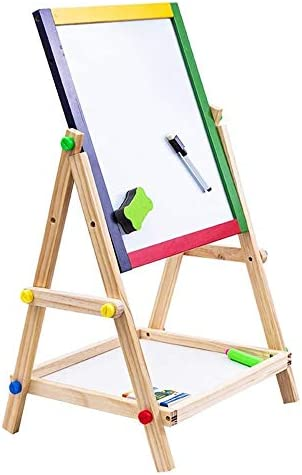 ダブルアジャスタブル木製イーゼル製図板を両面|チョーク黒板&ホワイトドライイレース表面、磁気スポンジ、マーカーペン、チョーク、幼児のための学習プレイ
