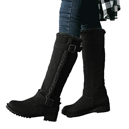 nter Warm Snow Boot Shoes Ladies Casual Comfortable Warm Plush Winter Knee High Boots ()