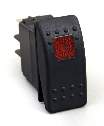 Daystar, Universal Rocker Switch with Red Light, 20 Amp, Single Pole, KU80014, Made in - Single Circuit Suspension