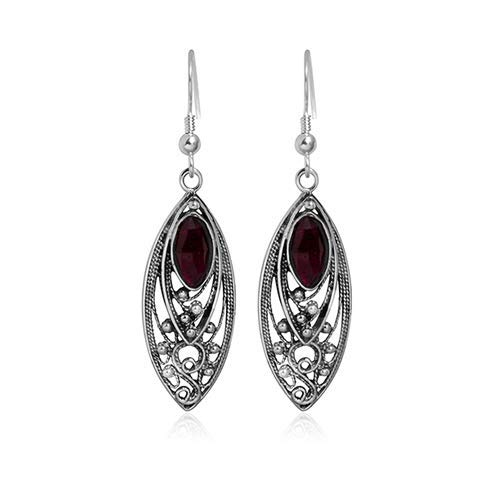 925 Sterling Silver Elongated Marquise Shape Filigree Garnet ()