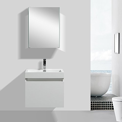 Eviva EVVN601-24GWH Drop 24 inch Wall Mount Modern Bathroom Vanity with Integrated Acrylic Sink Combination, White price