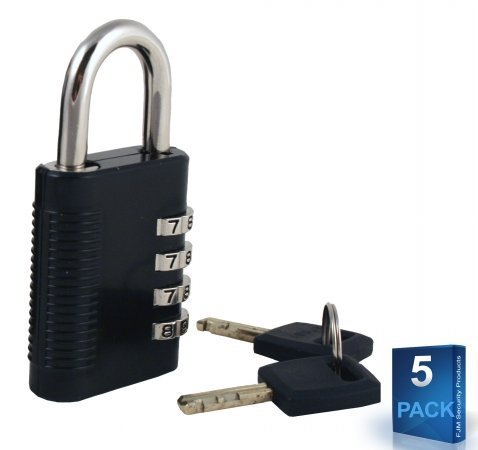 FJM Security SX-575 Combination Padlock with Key Override and Code Discovery, Pack of 5 with 1 Key by FJM Security by FJM Security (Image #1)