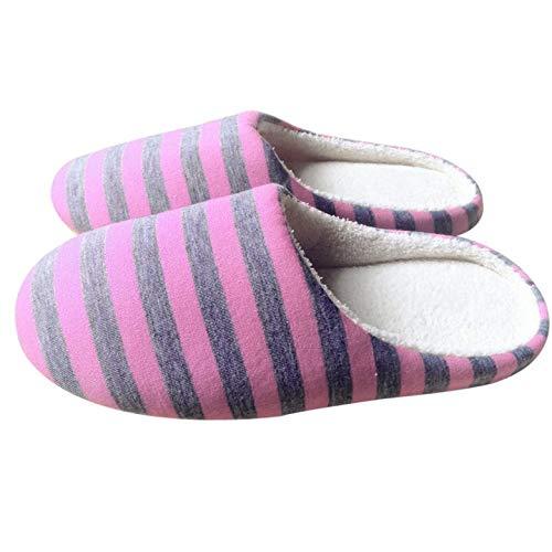 Harlls Universale 39 Inverno Interno Righe Pink Amante Stoffa Pantofole Caldo A Peluche Coppia Scarpe Casa Per Antiscivolo Morbido Pantofole 38 Da Donna uomo UUArwqxB