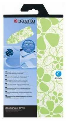 Brabantia 264825 Replacement Ironing Table Cover Size C 49 x 18 inches or 124 x 45 cm, Colorful Spring Flowers Pattern, Green, Fastened with cord binder and pull string tightener, Heavy duty pure cotton, Washable and Color-Fast, 100% Cotton with 4 mm foam/4 mm Viscose layer
