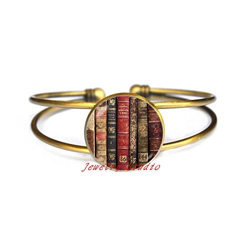 Books Bracelet Library Bracelet Bookworm gift Book jewelry Book lovers Bracelet Literary Bracelet Books jewellery Book readers Shabby books-HZ00253