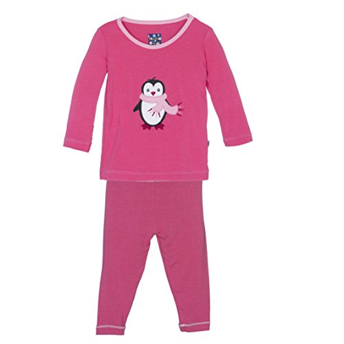 KicKee Pants Little Girls Holiday Long Sleeve Applique Pajama Set, Winter Rose Penguin, Girls 10 Years by Kickee Pants