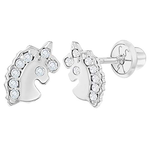 14k White Gold Unicorn Earrings Clear CZ Screw Back for Toddlers or Girls ()