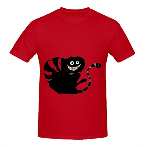 Cheshire Cat Is Amused Minimalist Xl1 Mens Crew Neck Art Shirts Red (Mime Masks For Sale)