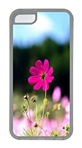 Pink Cosmos Flowers TPU Case Cover for iPhone 5C and iPhone 5C Transparent