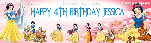 Personalized Snow White and The Seven Dwarfs Banner Birthday Poster Custom Name Painting Wall Art (Snow White And The Seven Dwarfs Painting)