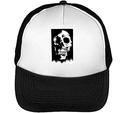 Horror Skull Portrait Gorras Hombre Snapback Beisbol Negro Blanco