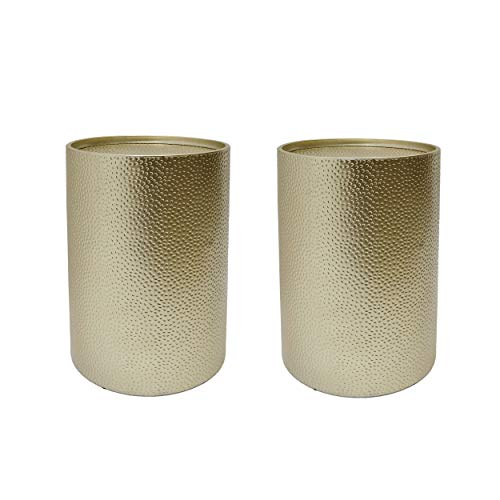 Kaylee Modern Round Hammered Iron Accent Table (2 Pack) - Gold