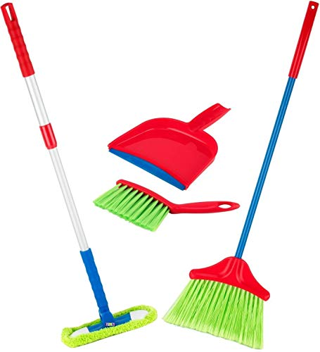 Kids Cleaning Set 4 Piece - Toy Cleaning Set Includes Broom, Mop, Brush, Dust Pan, - Toy Kitchen Toddler Cleaning Set is A Great Toy Gift for Boys & Girls - Original - by Play22