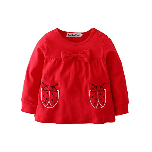Baby-Girls-Clothes-Set-2-Piece-Long-Sleeve-Ladybug-Pattern-Toddler-Outfits