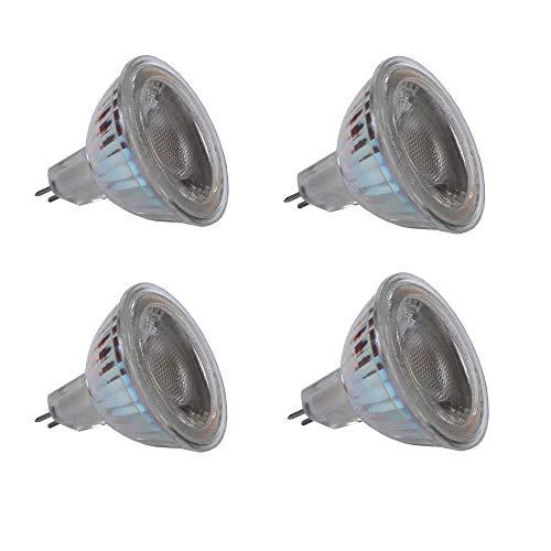 EBD Lighting MR16 GU5.3 COB LED Light Bulb (4 Pack) AC/DC12V 5W(50W Halogen Light Bulb Equivalent) Dimmable LED Spot Light 3000K Warm White Ultra Bright 12V Recessed Lighting
