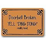 """Novelty Design Custom Doorbell Broken Doormat 23.6""""(L) x 15.7""""(W)-M919"""