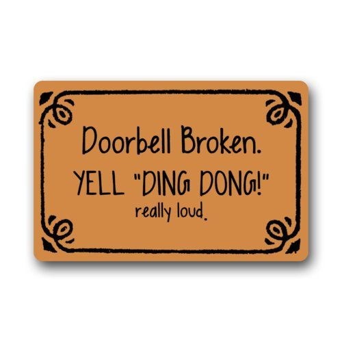 Funny Doorbell Broken Yell Ding Dong Really Loud Pattern Non-Slip Indoor or Outdoor Door Mat Doormat Home Decor Rectangle - 23.6(L) x 15.7(W), 3/16 Thickness 3/16 Thickness Funny door mats 23.6x 15.7
