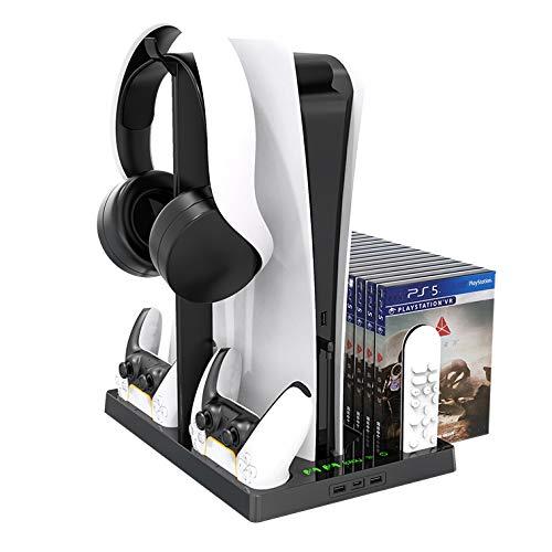Fbewan Soporte Vertical con Ventilador de enfriamiento para PS5 Playstation 5 Digital Edition/Ultra HD Controller…