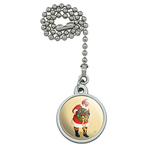 GRAPHICS & MORE Christmas Holiday Santa Holding Wreath Ceiling Fan and Light Pull Chain
