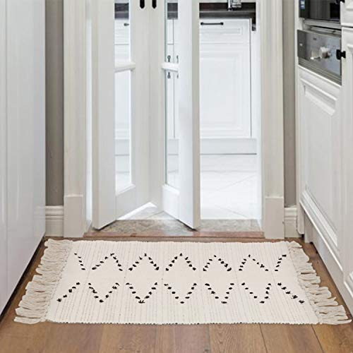 Chic Hand Tufted Rug - KIMODE Moroccan Cotton Area Rug, Hand Woven Cream and Black Chic Diamond Print Tassels Throw Rugs Indoor Door Mat for Bathroom,Bedroom,Living Room,Laundry Room (2' x 3', Black Stripe)